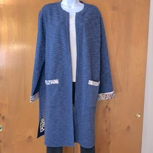 Chico's 3/4 length denim color knit open cardigan